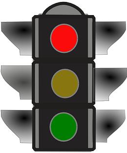 Verkehrsampel zeigt rotes Licht.